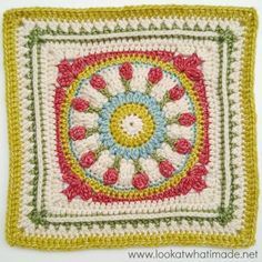 Crochet Squares Design Wishing Well Crochet Square {Block 14 of the Moogly CAL free pattern by Dedri Uys at Look At What I Made. Granny Square Crochet Pattern, Crochet Blocks, Crochet Squares, Crochet Motif, Crochet Designs, Crochet Yarn, Free Crochet, Crochet Patterns, Crochet Stitches