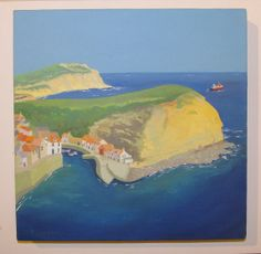Blue Day, Staithes, by Jan Richardson. Original Naive Yorkshire Coast Seascape painting Acrylic on box canvas 258x258mm. (10x10). Unframed