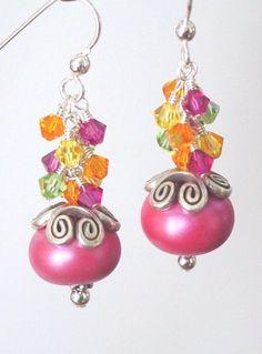 Tropical Pearlescent Lampwork Sterling Silver Earrings