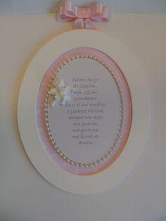 Quadro Oval G Oração Santo Anjo. Você encontra em nossas lojas online. Cia das Artes no Elo7, Divitae e ciaartes.com.br