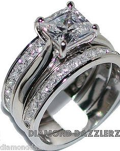 Princess Cut Diamond Engagement Ring 3 Band Wedding Set Sz 7 Sterling Silver 925 | eBay