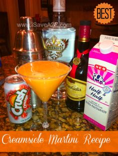 Creamsicle Vodka Martini ~ 1 oz Whipped Smirnoff Vodka, 1 oz Triple Sec, 1 oz Half & Half Cream, 6 oz Diet Crush Soda (You can use the regular, but I always try and cut out the sugar when I can)