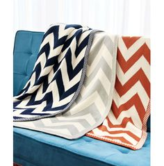 Chevron-Patterned Knit Throw