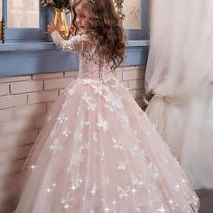 Butterflies and Sparkles Flower Girl Dress Full Lace Sleeves