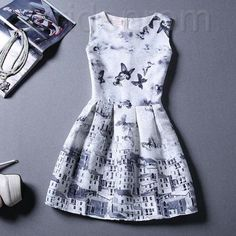 Short Retro Printing Patterns Women's Clothing Sleeveless Casual Dress YHD3-1 Size S M L XL