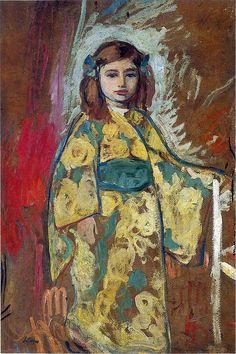 """peinture française : Henri Lebasque, """"Nono en robe japonaise"""", 1912, enfant en kimono, japonisme"""