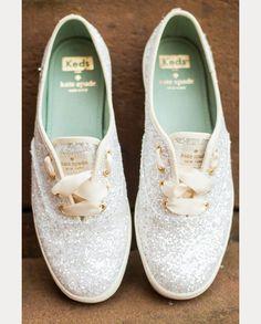white sequin wedding sneakers - kate spade