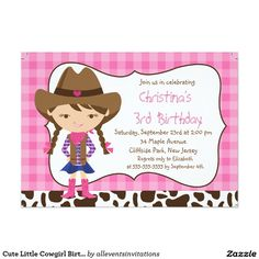 "Cute Little Cowgirl Birthday Party Invitations 5"" X 7"" Invitation Card"