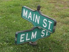 Make offer if you want it in time for Halloween! Vintage Street Sign Topper - Corner of Main St. & Elm St. - Nightmare!