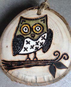 Rustic owl wood burned Christmas ornament