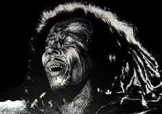 Bob Marley Private Collection A portrait of my reggae hero Bob Marley done on a medium called Scraperboard, an illustrative technique using sharp knives and tools for etching into a thin layer of white China clay that is coated with black India ink. China Clay, India Ink, White China, Knives And Tools, Bob Marley, Reggae, Digital Illustration, How To Draw Hands, Hero