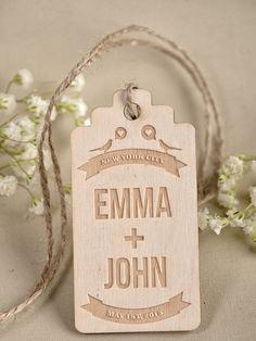 Custom Wooden Thank You Tag Engraved Wedding by DecorisWedding, $1.50