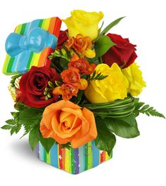 Brightly-colored birthday flowers from Tulip Tree make the perfect gift. Fabulous Birthday, Happy Birthday, Flowers For Everyone, Yellow Roses, Tulips, Floral Arrangements, Beautiful Flowers, Bouquet, Presents