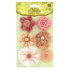 """These fanciful Prima Pink Madrigal Collectio n Blossoms are made with tulle, beaded accents, crystals, glitter, pearls and chiffon.    Each package contains six flowers that measure approximately 1 1/2"""" in diameter."""