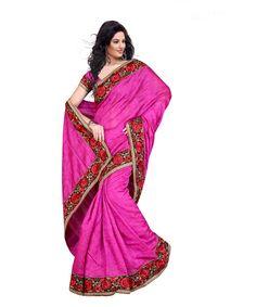 Magenta Bhagalpuri Saree With Blouse 60057