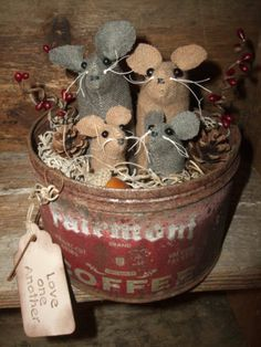 Primitive Wool Mouse Mice in Vintage Coffee Can for Valentines Day or Always!