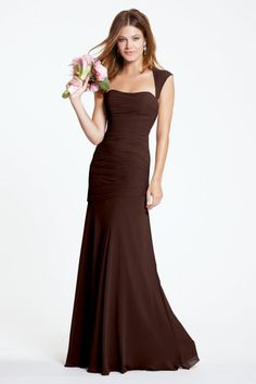 Watters Maids Dress Iman Style 5530 | Watters.com dark brown rich cognac chiffon