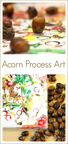 Acorn Process Art - Fun Fall Art for Kids to Create Amazingly fun fall art for kids to make with acorns! This fall art project is messy, colorful, and all about the process, but it creates a nice product too! Process Art Preschool, Fall Preschool Activities, Art Activities, Preschool Crafts, Toddler Activities, Educational Activities, Kid Crafts, Fall Art Projects, Projects For Kids