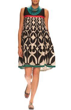 Black and Ivory Chanderi Dress. - Dress - Clothing Styles