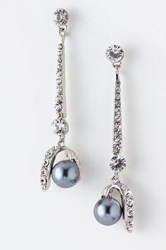 Pearl Dangle Crystal Drop Earrings