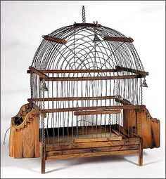 "This antique American bird cage has transcended its original purpose to become a folk art treasure - from the Ruby Lane shop ""Oh."""