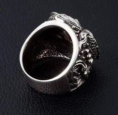 If you are looking for both spellbinding and meaningful accessory, our Onyx Sterling Silver Koi Gothic Ring is right up your street. It's made of solid silver Gothic Engagement Ring, Unusual Engagement Rings, Traditional Engagement Rings, Mens Sterling Silver Necklace, Mens Silver Rings, Black Onyx Ring, Black Diamond, Gothic Rings, Platinum Jewelry