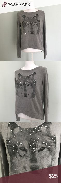 Hollister Grey Graphic Wolf Sweater Size: Small This sweater has a very cute design with a wolf and sequins on the front. It is long sleeve with the Hollister logo on one of the sides.  Measurements(approx): 🌸Bust: 38 in  🌸Length: 25 in from the back of the collar 🌸Sleeve Length: 26 in  🌸Size: Small 🌷Color: Grey with a wolf design  🌷Condition: Good Pre Owned (minor pilling) Hollister Sweaters Crew & Scoop Necks