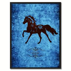 Horse Chinese Zodiac Blue Canvas Print, Black Custom Frame