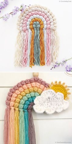 Crochet rainbows are trending now, so why not use your spare time to make one of these beauties? Use up leftover yarns to create something totally new. Crochet Simple, Crochet Diy, Crochet Home, Love Crochet, Crochet Gifts, Crochet Wall Art, Crochet Wall Hangings, Yarn Projects, Crochet Projects
