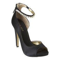 """Peep toe d'Orsay pump with ankle wrap & back zipper closure.  4 1/2"""" heel with 1/2"""" platform."""