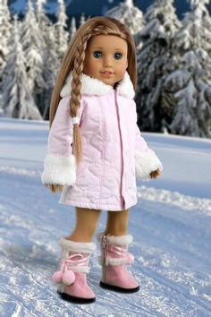 Cotton Candy - Pink parka with hood, short ivory dress and pink boots - 18 Inch American Girl Doll Clothes  Price : $26.97 http://www.dreamworldcollections.com/Cotton-Candy-parka-American-Clothes/dp/B00BAYWJCM