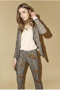 A tailored plaid blazer with signature Mos Mosh detailed buttons. Plaid Blazer, Parachute Pants, Harem Pants, Flare, Dresses, Check, Fashion, Environment, Vestidos