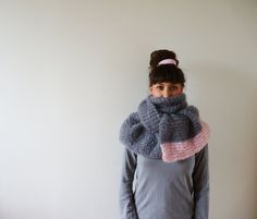 Large Grey and Pink Mohair Scarf by CreaKy on Etsy, €80.00