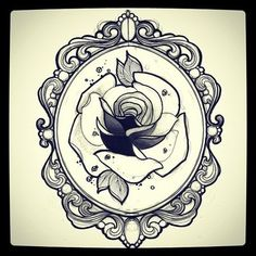 Frame Tattoo Designs Intended Black Ink Rose In Frame Tattoo Design Framed Tattoo Frame Tatoo Vintage 105 Best Tattoos Images On Pinterest Ideas And