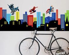 Custom Wall Decals and Murals for Home Decor by decalideas on Etsy Removable Vinyl Wall Decals, Kids Wall Decals, Nursery Wall Decals, Wall Decal Sticker, Wall Stickers, Batman City, Superhero City, Gotham City, Custom Wall Murals