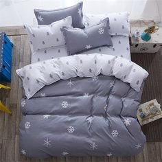 luxury Home textiles bedclothes snowflake Stripe 4pc/ 3pc christmas Bedding sets Cotton bed linen duvet cover housse de couette
