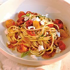 Quick-Roasted Cherry Tomato Sauce with Spaghetti | CookingLight.com
