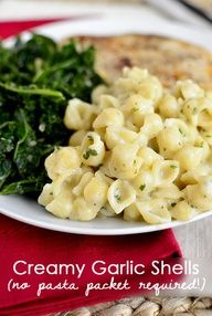 Creamy Garlic Shells is an easy pasta side dish. No store bought pouch required @ Iowa Girl Eats Pasta Side Dishes, Pasta Sides, Food Dishes, Side Dish Recipes, Pasta Recipes, Dinner Recipes, Cooking Recipes, Dinner Ideas, Think Food