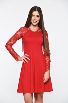 StarShinerS red dress with laced sleeves elegant cloche, without clothing, laced sleeves, long sleeves, flaring cut, back zipper fastening, pontiroma, flexible jersey with middle thickness