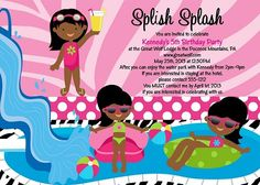 African American Pool Party Invitations by Cutie Patootie Creations  www.cutiepatootiecreations.com