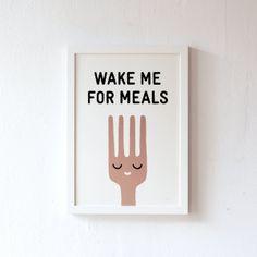 Essen, schlafen, essen, schlafen, essen, schlafen, ... das wäre schön! 2-farbiger Siebdruck, numeriert auf der Vorderseite, datiert und signiert au