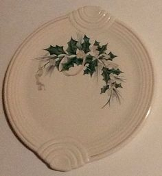 Fiesta Christmas Holly Berries  and Ribbon Cake Serving Plate Fiestaware  #HomerLaughlinFiesta