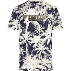 Navy palm tree print t-shirt - print t-shirts - t-shirts / vests - men