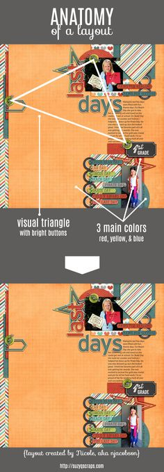 Anatomy of a Layout — improve your scrapbook page design skills with visual triangles and color theory   learn more here: http://suzyqscraps.com/2013/02/06/10-design-tips-for-visually-pleasing-scrapbook-pages/