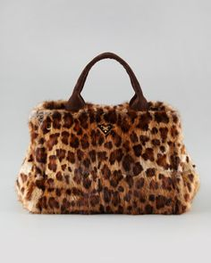 Leopard-Print Fur Tote by Prada at Neiman Marcus.