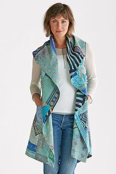 Kantha Patchwork Vest by Mieko Mintz: Cotton Vest available at… Quilted Clothes, Sewing Clothes, Diy Clothes, Simple Outfits, Cool Outfits, Vetements Clothing, Gilet Long, Cotton Vest, Altered Couture