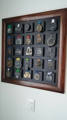 ► 12 DIY Display Cases Ideas Which Make Your Stuff More Presentable - EnthusiastHome Medalleros<br> A display case presents the inner-self of the creator. With a look at the display case, you can know the person inside. There are DIY display case ideas. Race Medal Displays, Display Medals, Medal Display Case, Ticket Display, Trophies And Medals, Award Display, Running Medals, Medal Holders, Home Decor Ideas
