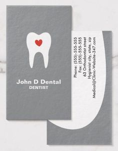 Tooth and heart gray dental dentist business cards. A modern and contemporary dental business card in stylish gray featuring a white silhouette of a tooth with a red heart inside. Customizable text areas for name, specialty or clinic name and other contact information on the back. Sleek and clean dental business card design for dentists, orthodontists, dental hygienists and assistants or anyone who loves teeth.