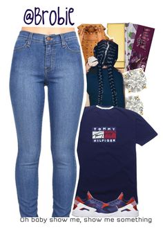 """♡ : Yeah I got the Tommy, no Hilfiger"" by brobie ❤ liked on Polyvore featuring AERIN, MCM, Auriya and NIKE"