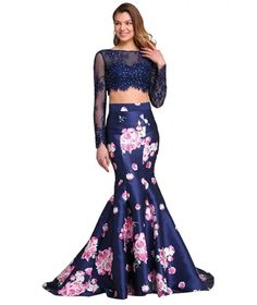Sensfun Two Piece Prom Dress Floral Print Long Mermaid Evening Gown with Sleeves Lilac Prom Dresses, Turquoise Prom Dresses, Mermaid Prom Dresses, Dresses Uk, Satin Dresses, Party Dresses, Fashion Dresses, Women's Fashion, Formal Dresses